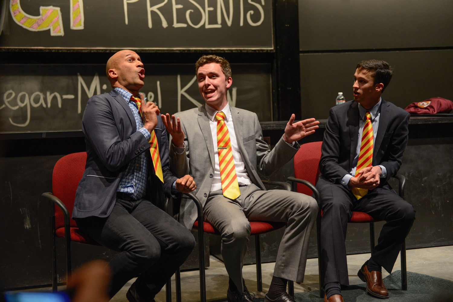 Keegan-Michael Key plays a confused Estonian while Mike A. Skerrett '18 and Aaron I. Henricks '16 explain functions of the brain.