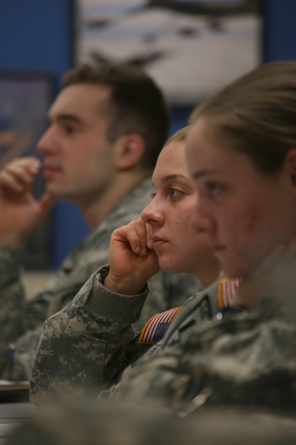 Charley M. Falletta '16 listens during Army ROTC's weekly leadership lab on Wednesday, Feb. 18.