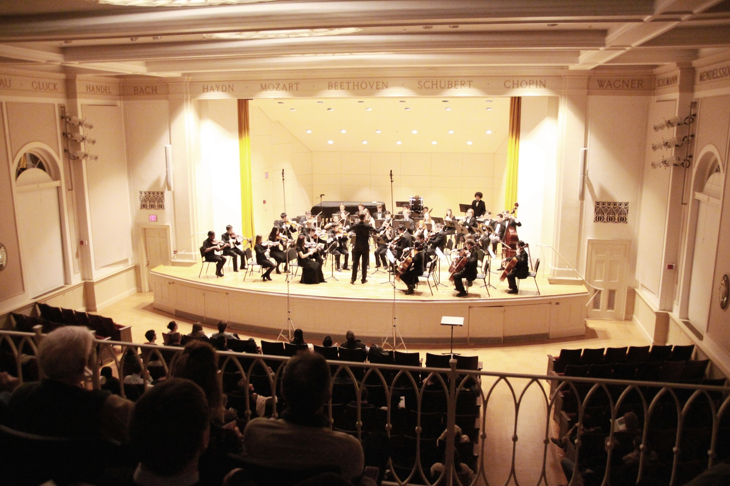 """The Bach Society Orchestra presented """"A-Bach-alypse Now!"""" on Saturday night at Paine Hall. The orchestra's third concert for the year, it featured guest solos from Max Tan '15 and pianist Max Levinson and classic works by Mozart, Beethoven, Grieg, and Tchaikovsky."""