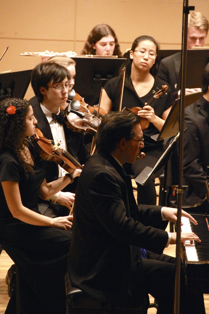 Renowned pianist Max Levinson performs a piano solo with the Bach Society Orchestra on Saturday.