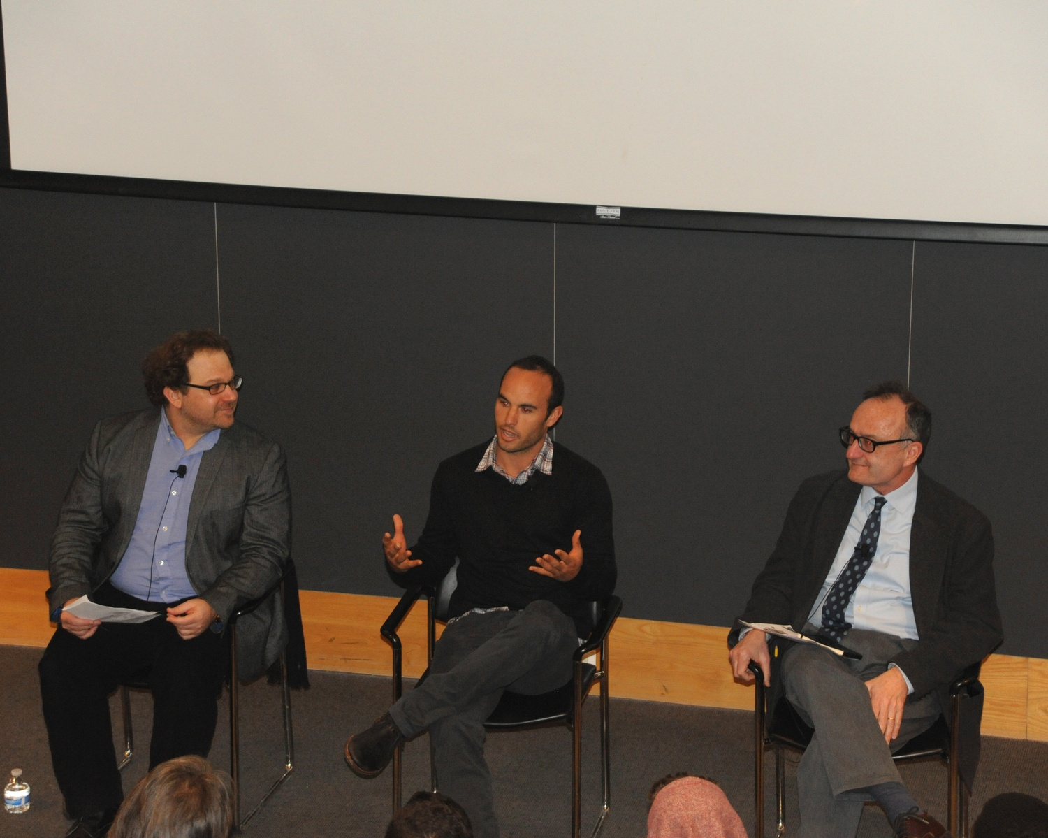 Former United States professional soccer player Landon T. Donovan engages in a discussion with students in Fong Auditorium Wednesday afternoon as part of Romance Studies 109: The Global Game.