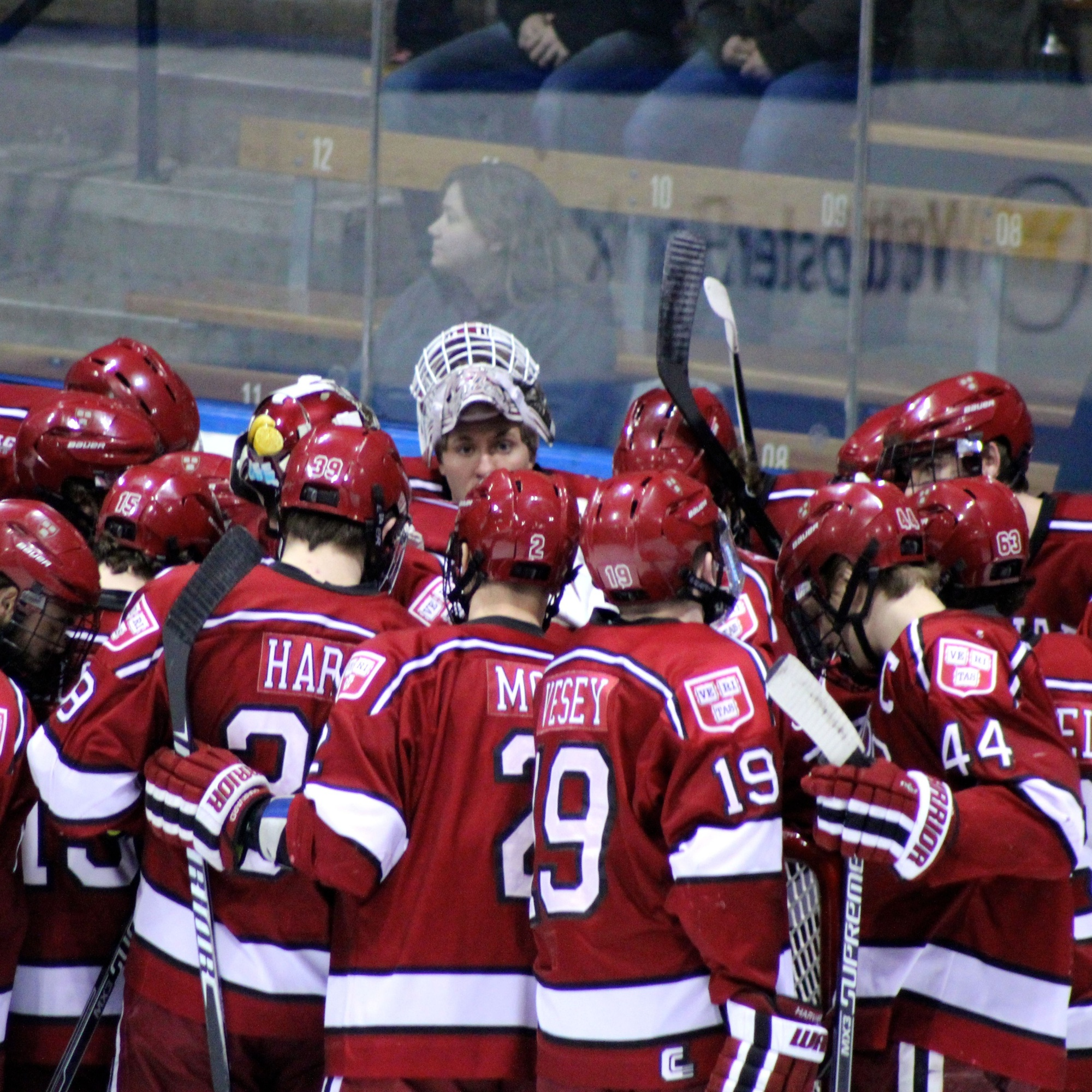 The Harvard men's ice hockey team beat Yale for the first time since March 2012 and won at Ingalls Rink for the first time since January 2005.