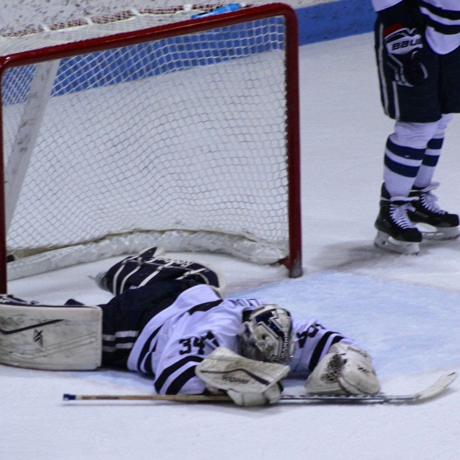 Yale's Alex Lyon reacts after Vesey's overtime winner. The sophomore goaltender entered the weekend undefeated against Harvard over eight meetings.