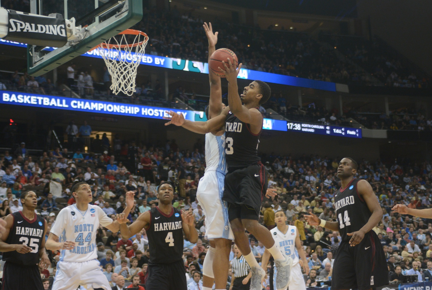 Despite Crimson senior wing Wesley Saunders's 26 points on 8-for-14 shooting, Harvard fell to North Carolina, 67-65.