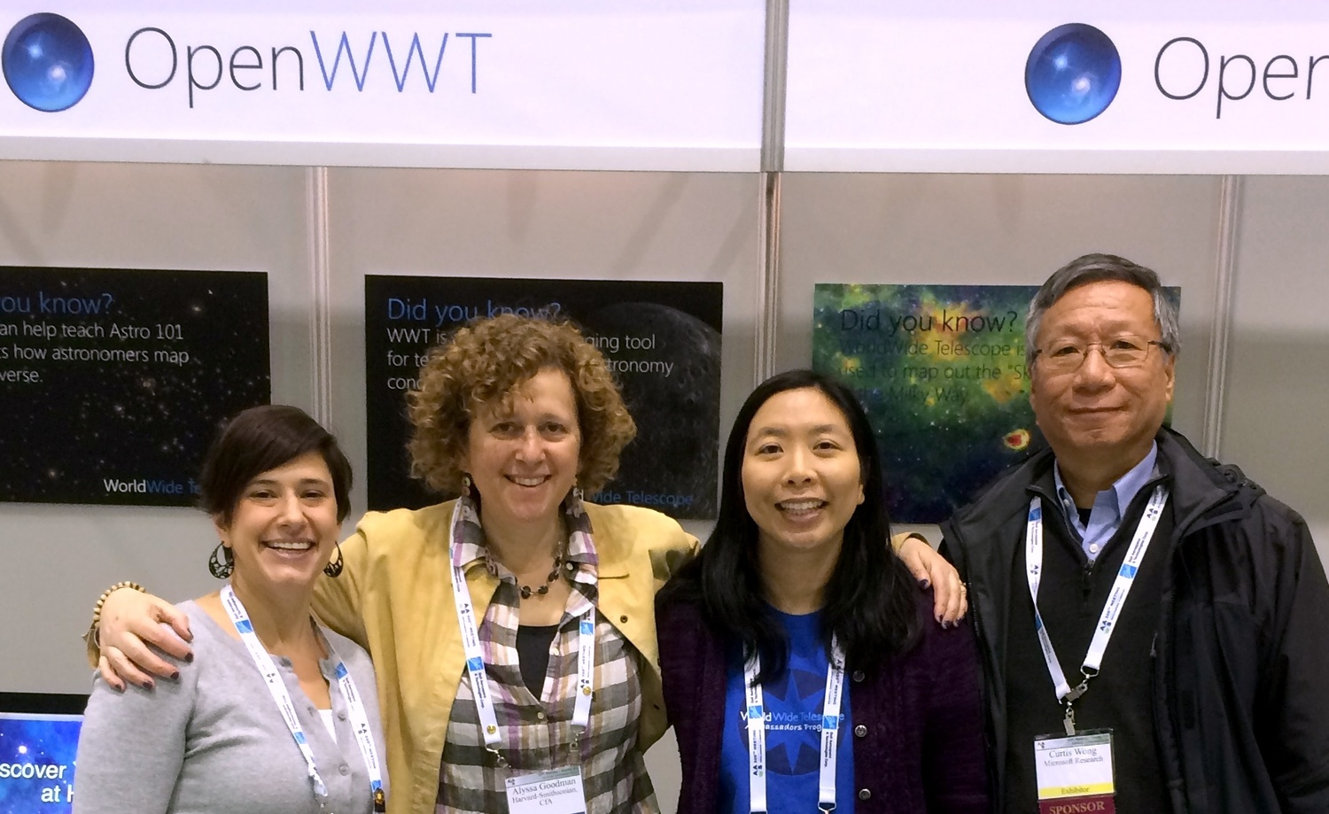 Pictured from left to right: Erin Johnson, Alyssa A. Goodman, Patricia S. Udomprasert, and Curtis Wong at the 2015 annual meeting of the American Astronomical Society in Seattle.