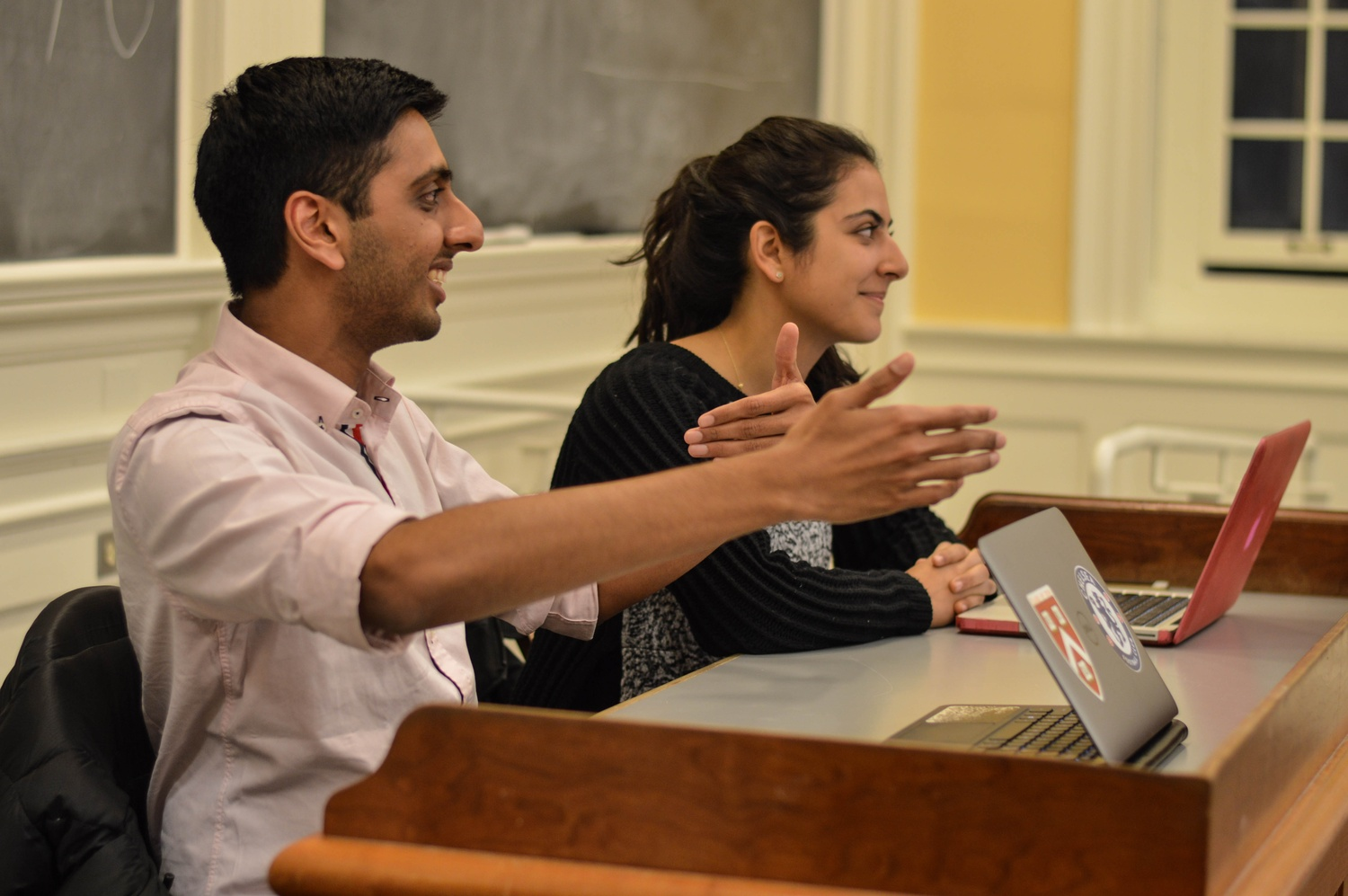 Undergraduate Council President Ava Nasrollahzadeh '16 and Vice President Dhruv P. Goyal '16.
