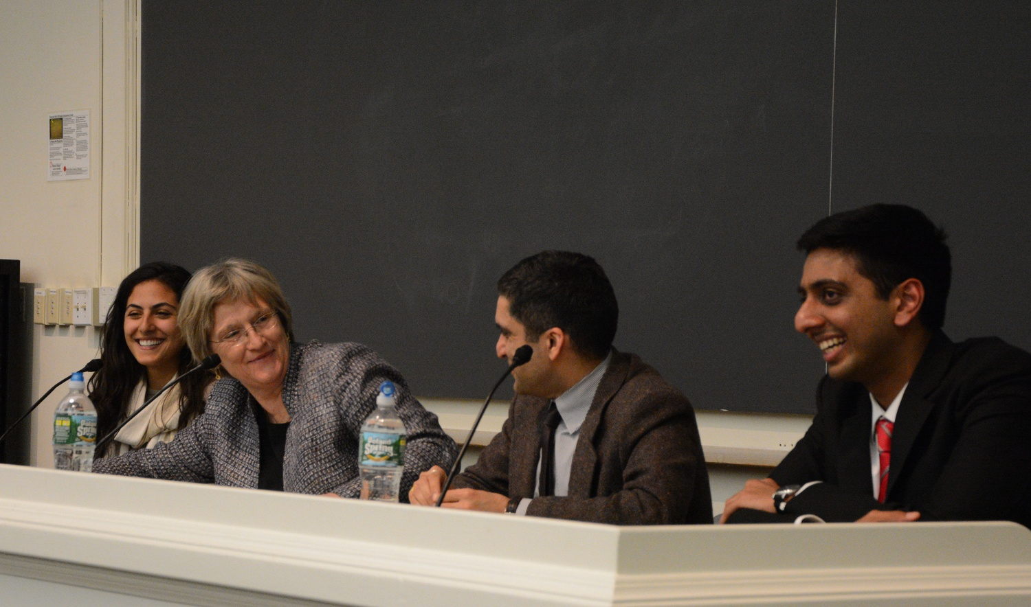 Undergraduate Council leaders Ava Nasrollahzadeh '16 and Dhruv P. Goyal '16 hold an open forum with President Drew G. Faust and Harvard College Dean Rakesh Khurana Tuesday night. Students spoke about a range of issues, including campus diversity and inclusion, accessibility for disabled students, and funding for summer and post-graduate public service opportunities.