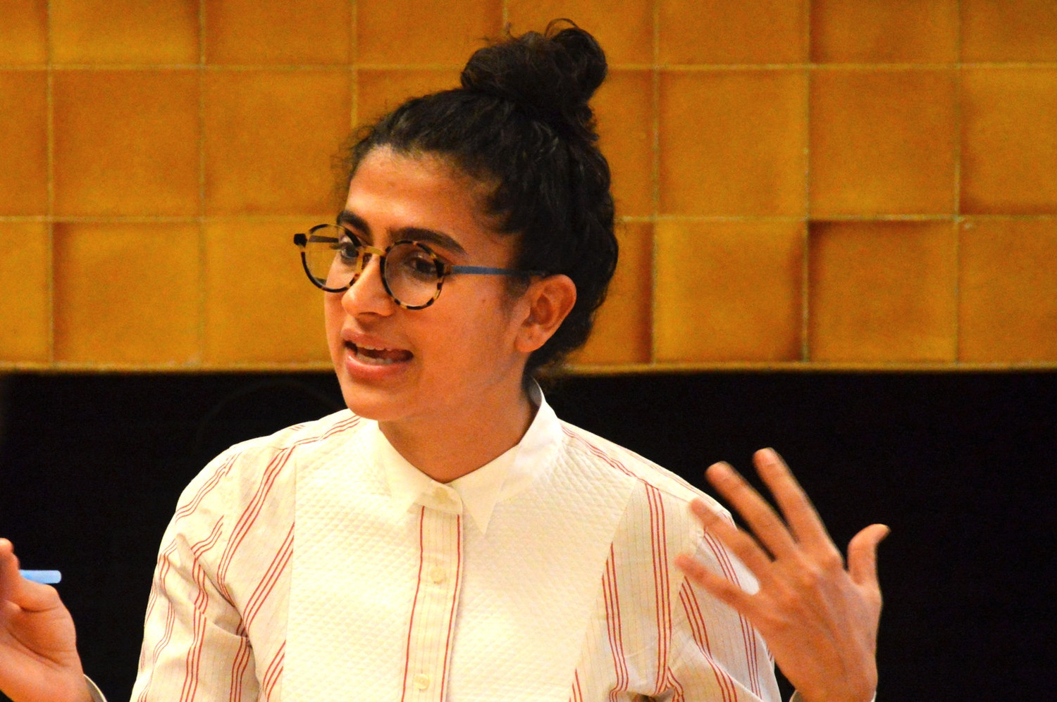 "Kiran Gandhi leads an event entitled ""Working and Performing in the Music Industry"" at the OCS on Wednesday afternoon, where she talked about being both M.I.A.'s touring lead drummer and a student at HBS."