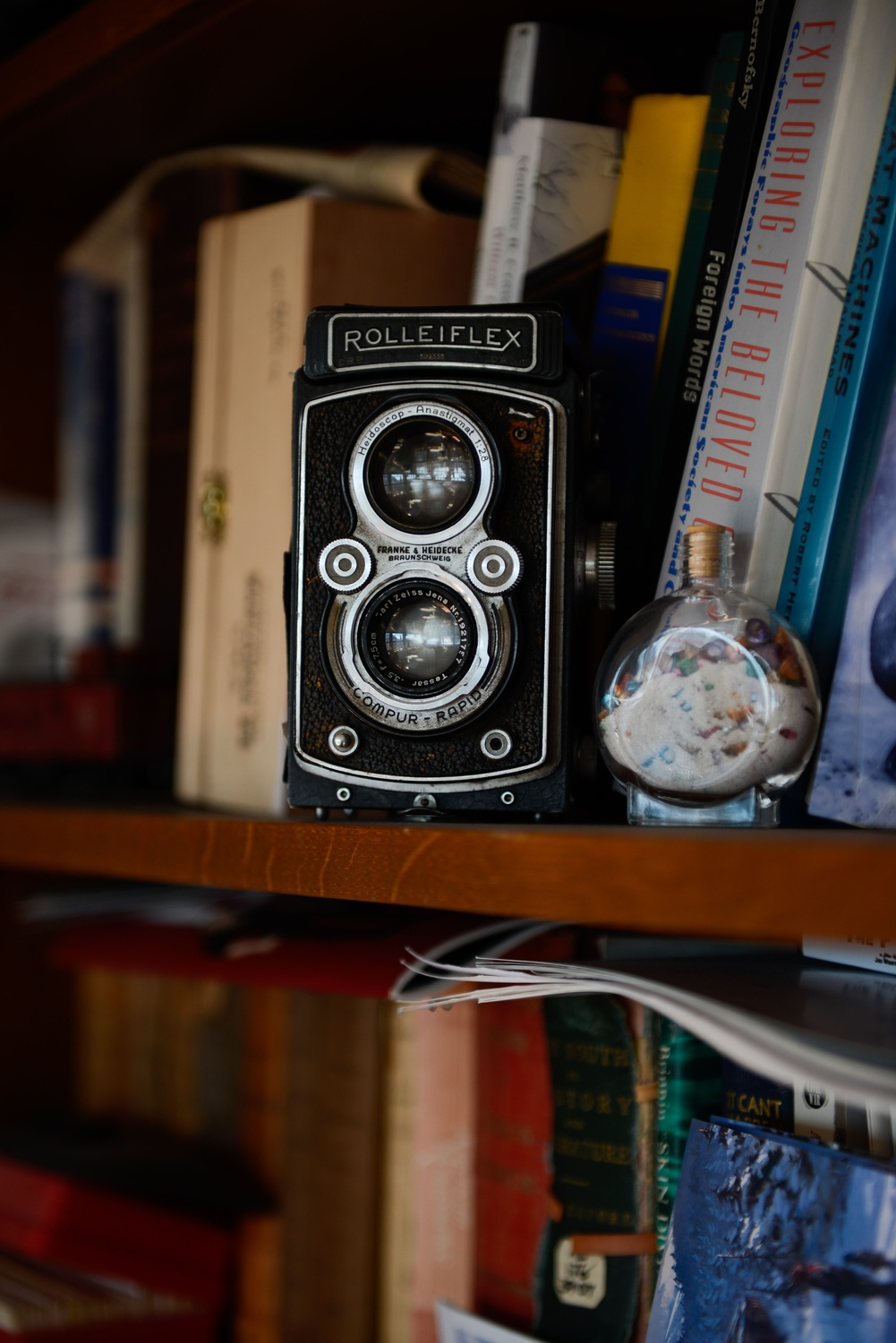 Stilgoe often takes photos for his books with dual-reflex lens cameras, such as this Rolleiflex.