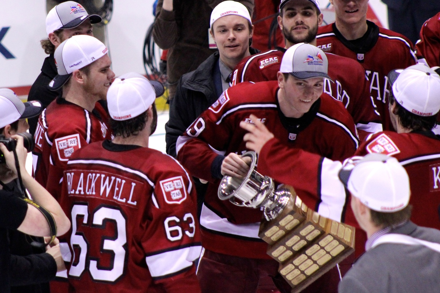 Vesey, shown after the Crimson won the ECAC title on March 21, was named Most Outstanding Player of the conference tournament after scoring an ECAC-record nine playoff goals.