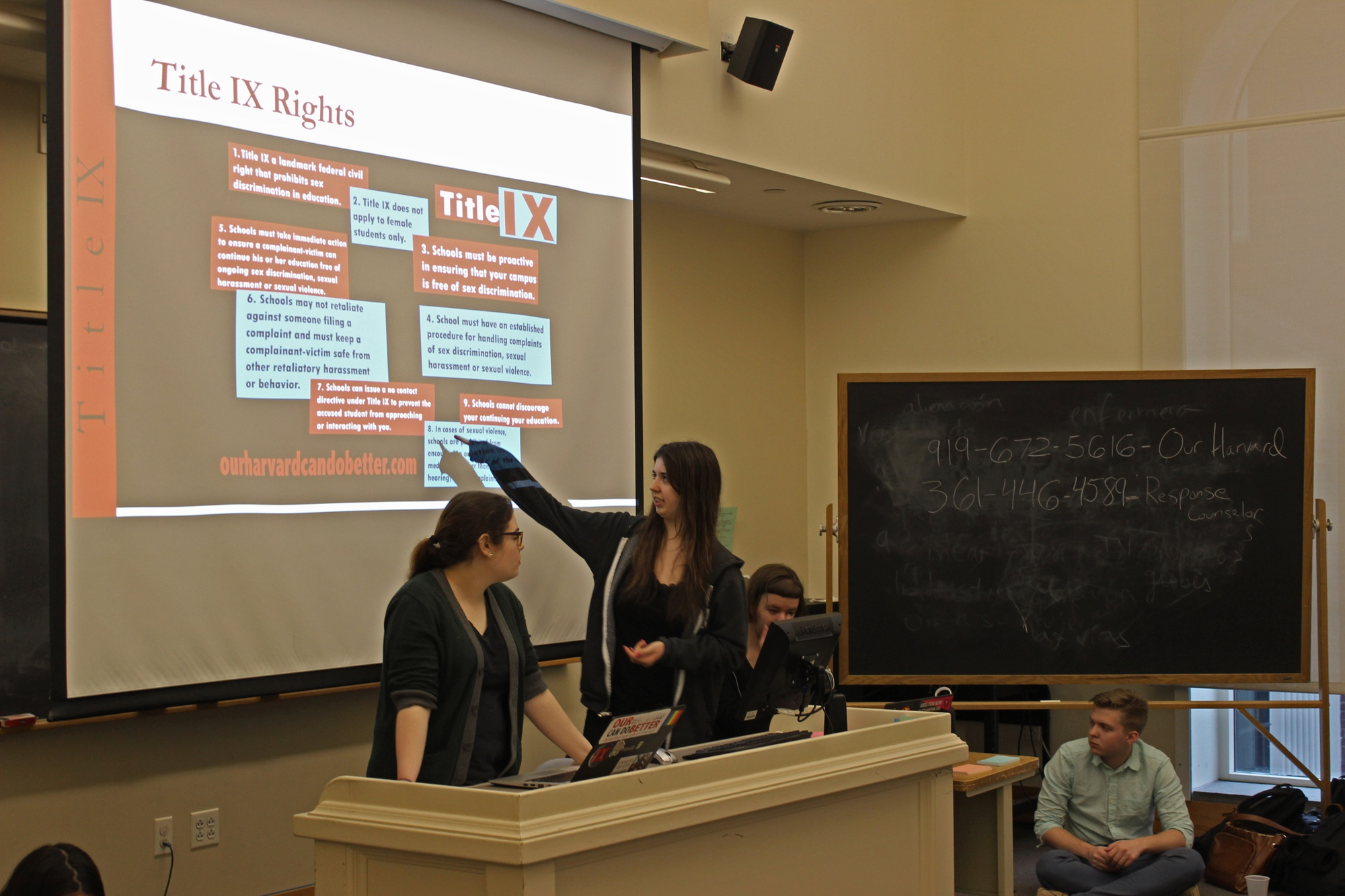 """Members of """"Our Harvard Can Do Better,"""" a student group that advocates for modifications to Harvard's sexual assault policy, discuss rights guaranteed under Title IX at a """"teach-in"""" in April."""