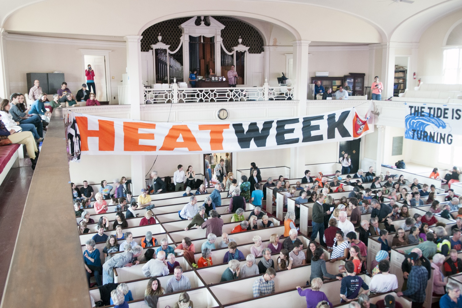 "Over a hundred students, alumni and supporters gathered in the First Parish in Cambridge on Sunday evening to kick off ""Heat Week."""