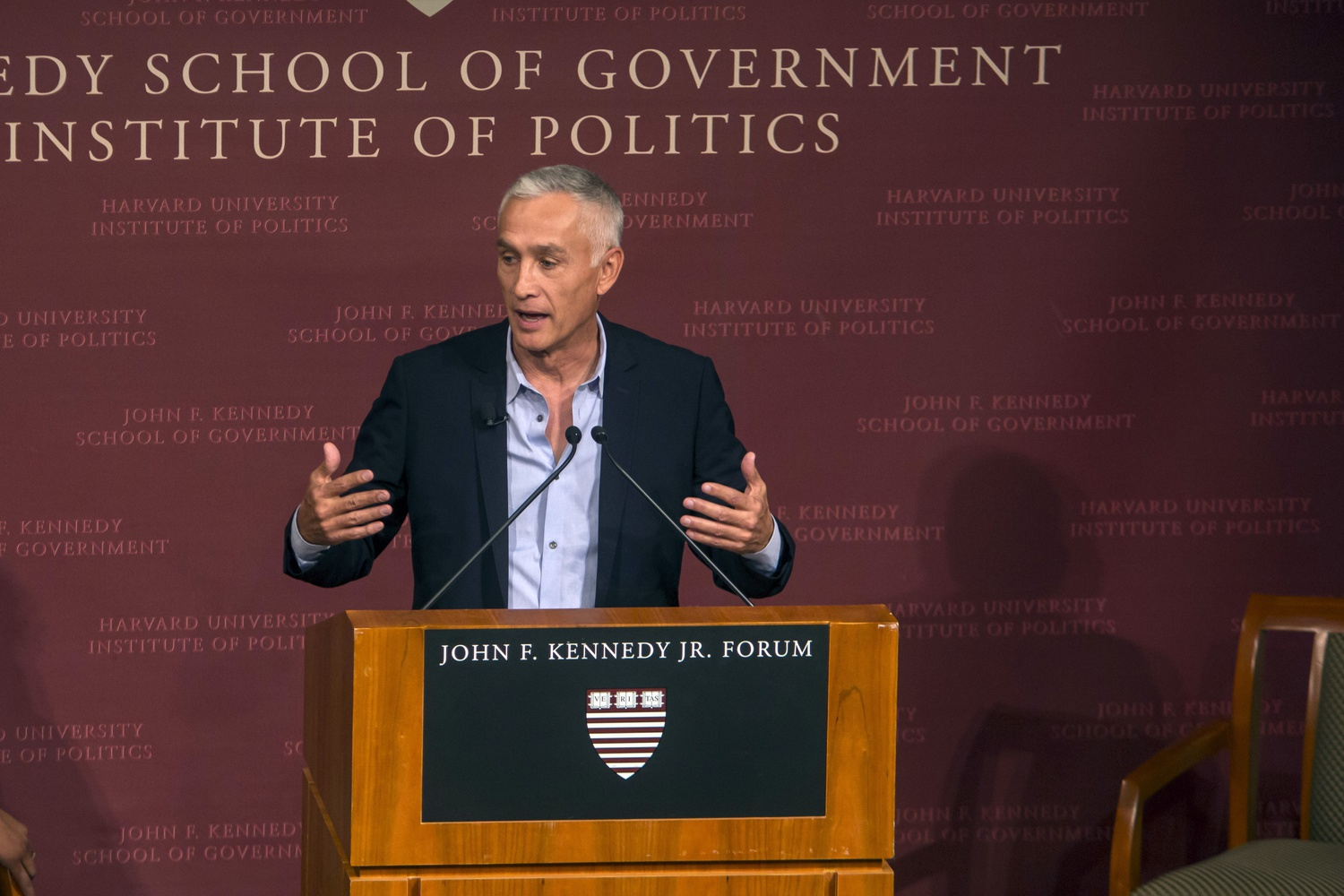 Journalist Jorge G. Ramos speaks at a Harvard event in 2015.
