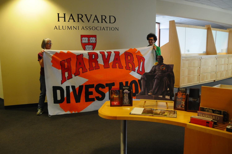 Alumni supporters of environmental activist group Divest Harvard occupied the Harvard Alumni Association on Mt. Auburn Street for just under two days.