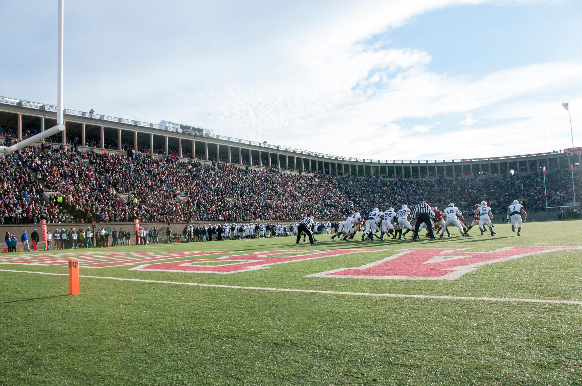 In Harvard-Yale 2014, which was held at Harvard Stadium on Nov. 22, Crimson junior defensive back Scott Peters intercepted Bulldogs quarterback Morgan Roberts' pass with 10 seconds remaining to seal the win for Harvard.