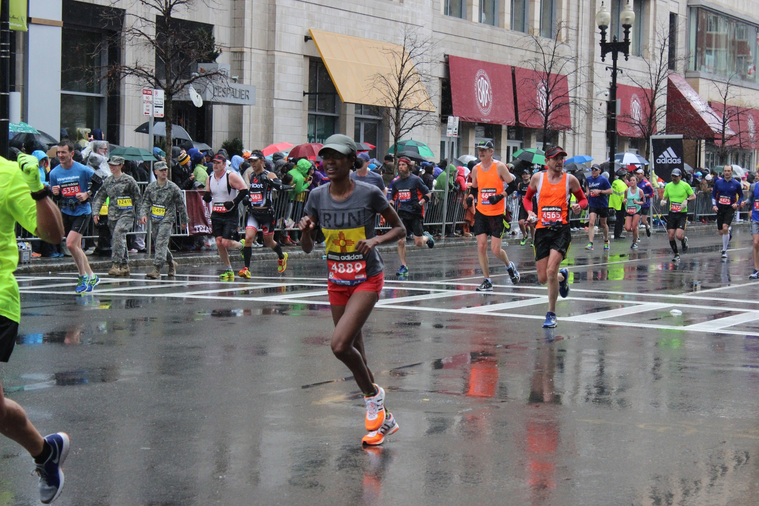 Serena Eley of Los Alamos, New Mexico, approaches the finish line of the 2015 Boston Marathon.