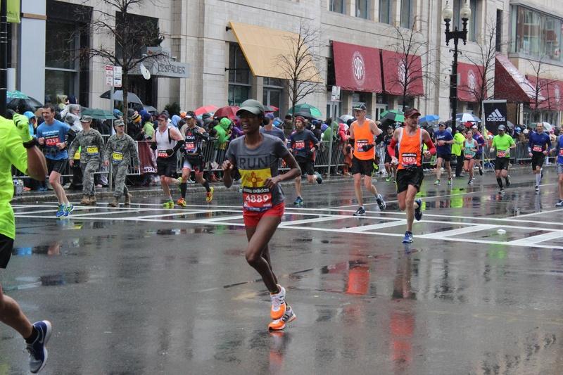 Marathon Runners Approach Finish Line