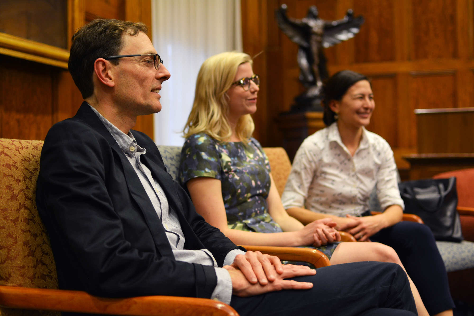 Chair of the Committee on Dramatics Prof. Martin Puchner, left, and graduate students Tarryn Li-min Chun, center, and Elizabeth M. Phillips, right, attended an open forum on the future of theater at Harvard in April.