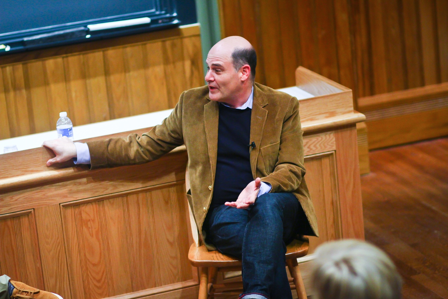 Matthew Weiner, creator of the AMC drama series Mad Men, discusses his techniques and experiences working in television as part of Harvard LITFest Monday evening.
