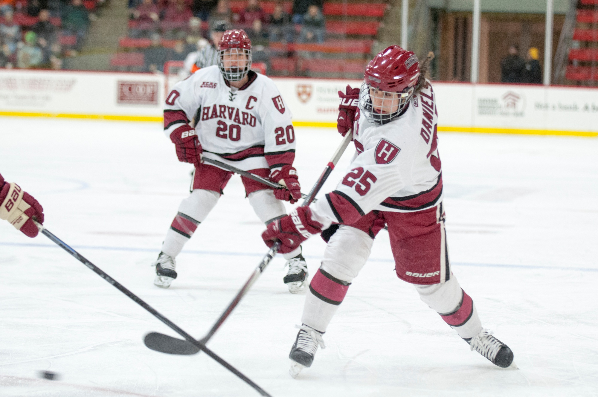 Sophomore Sydney Daniels takes a shot against Boston College in the Beanpot finals. The Crimson downed their local rivals, taking home the title with a 3-2 victory.