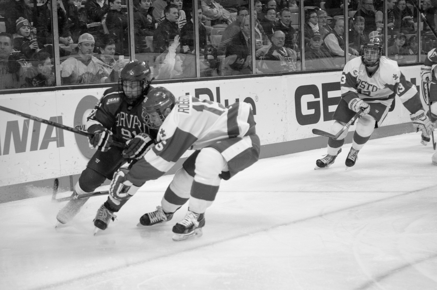 Freshman forward Jake Horton (above-left) is one of many Crimson skaters who played in the junior leagues before arriving in Cambridge. The practice allowed them to gain experience competing at a high level prior to collegiate play.