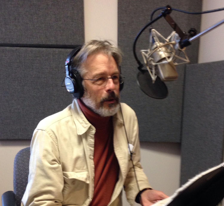 Former Crimson Managing Editor Hendrik Hertzberg '65 records a podcast for newyorker.com.