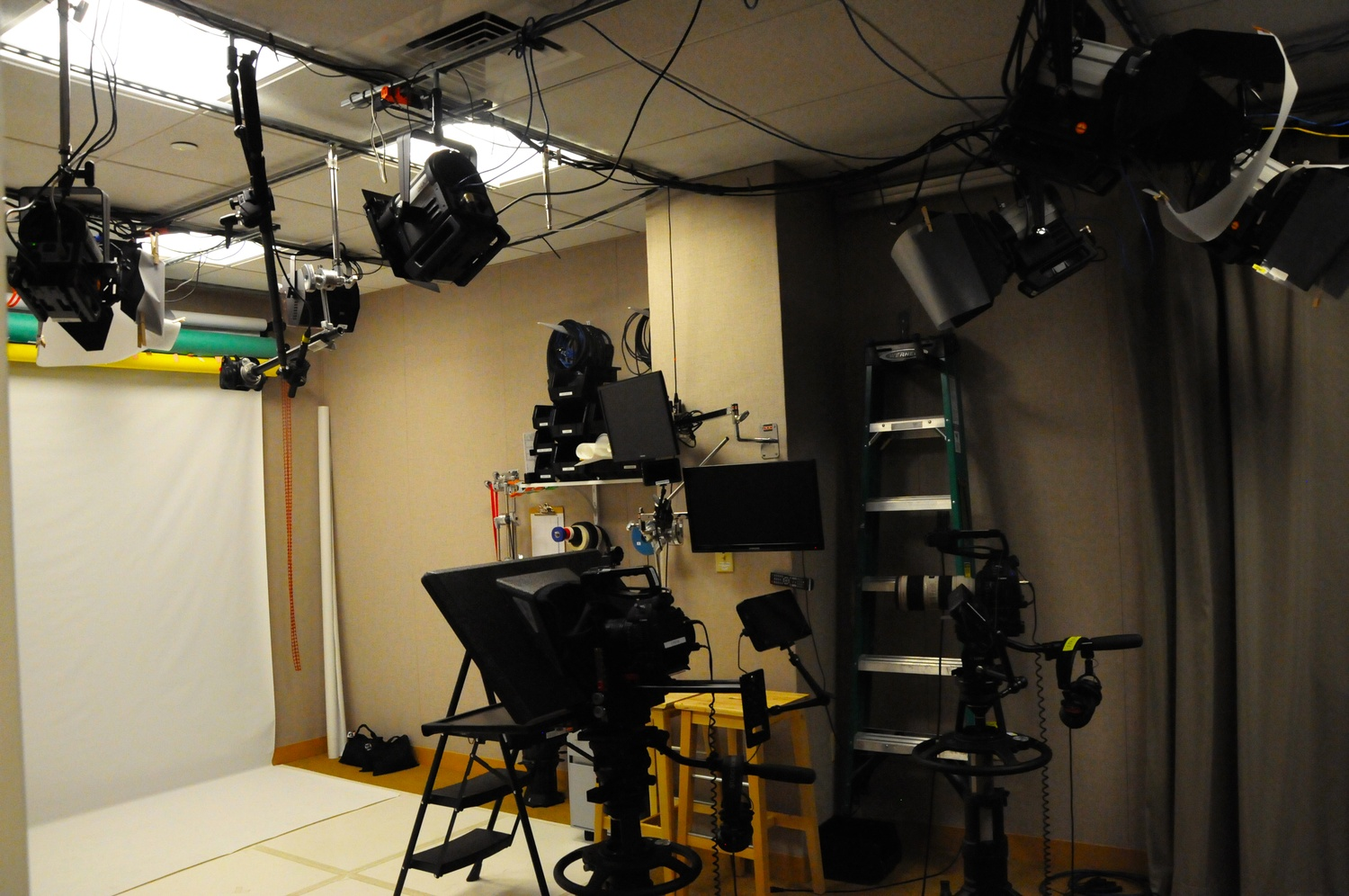 Professors film in the HarvardX studio, pictured in May, to adapt their courses for online audiences. Harvard faculty are expressing increased interest in flipping their courses and lecturing via video.