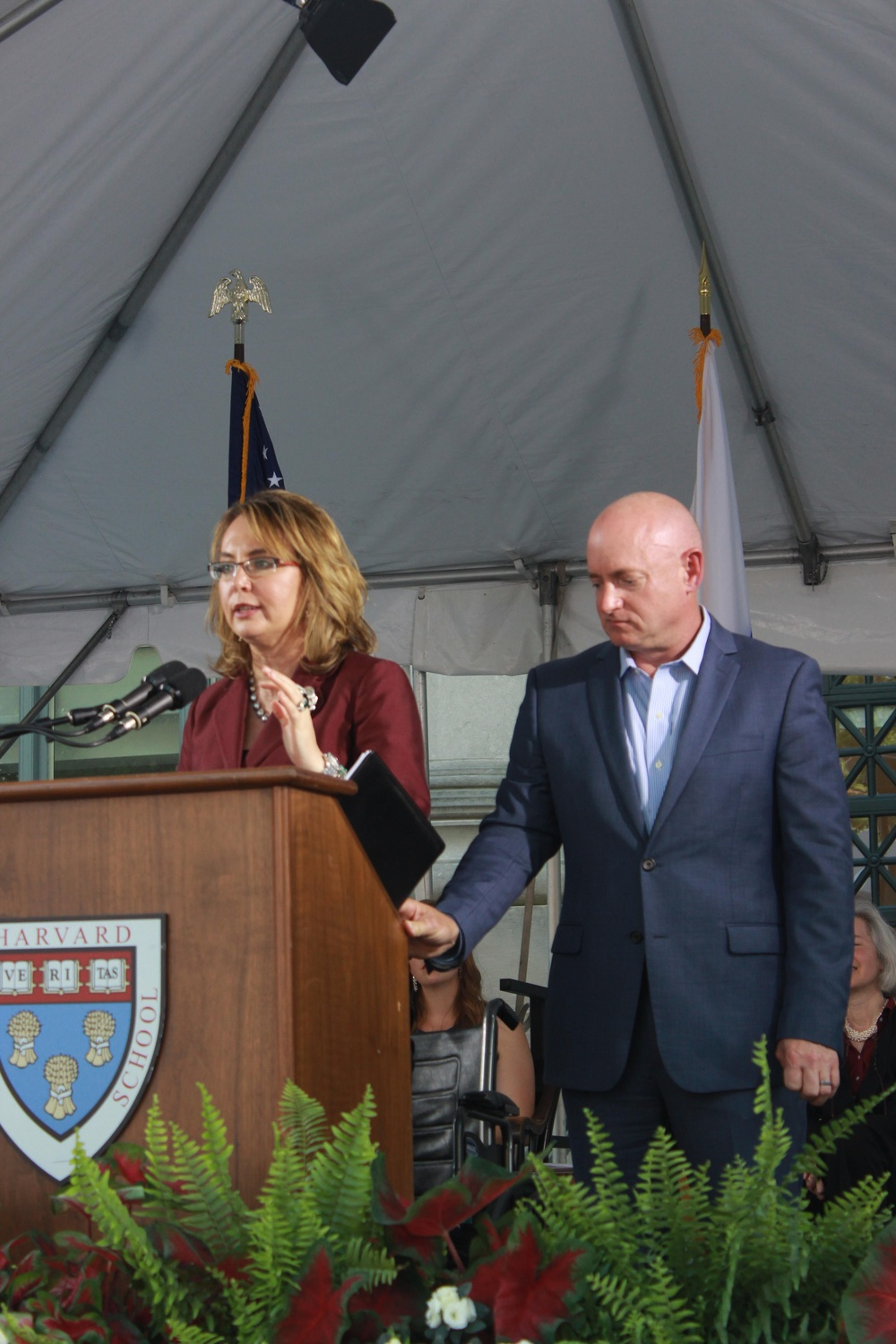 Former U.S. Representative Gabrielle D. Giffords and her husband, Mark E. Kelly, speak at Harvard Law School's Class Day.