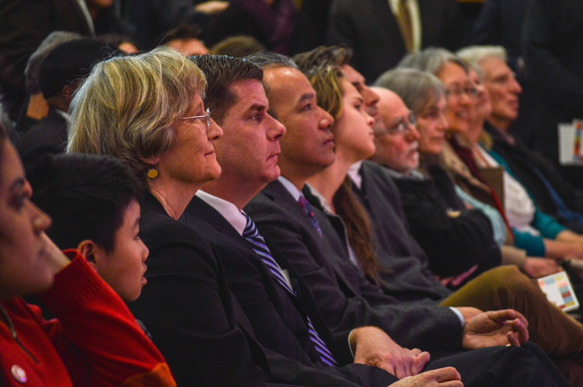 University President Drew G. Faust seated next to Boston Mayor Martin J. Walsh at the opening of the Harvard Ed Portal at its new location in Allston in February.