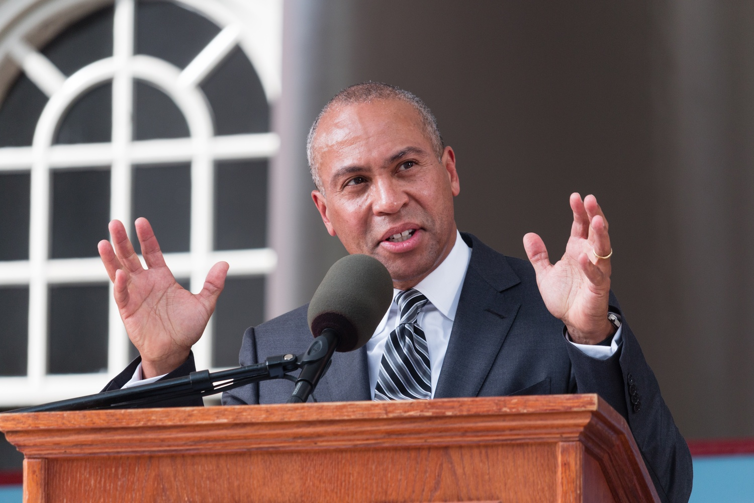 """Former Massachusetts Governor Deval L. Patrick '78 speaks about activism and encourages students to feel """"uneasy"""" about problems facing society in his  afternoon Commencement address on Thursday."""