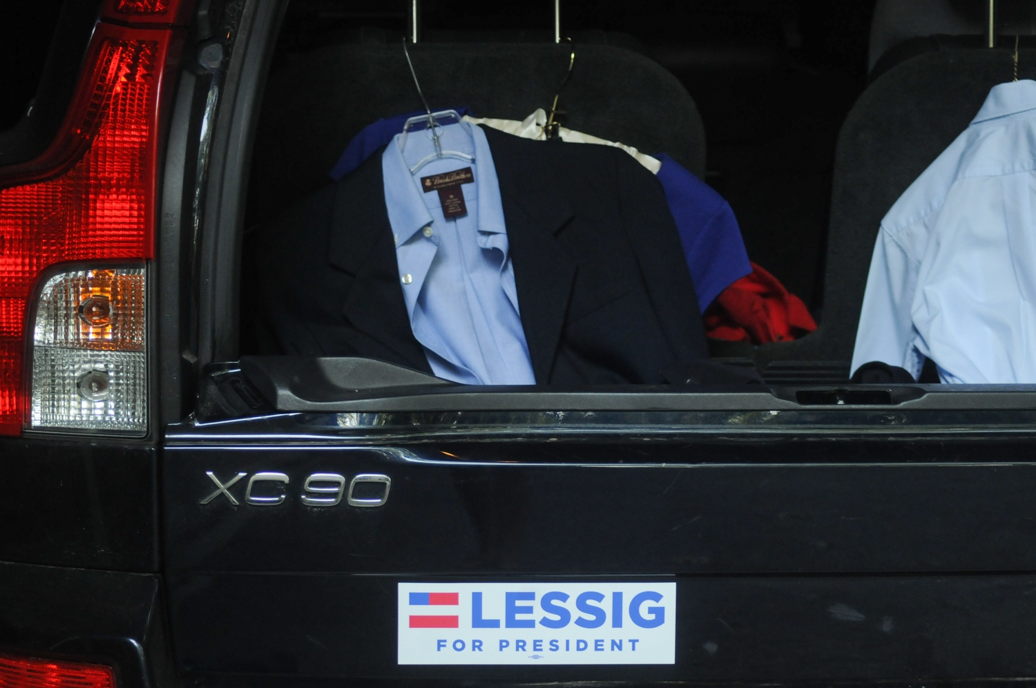 Prof. Lawrence Lessig's son's jacket sits in the back of his family's car before Lessig's campaign kickoff. Lessig launched his bid for the democratic candidacy on Wednesday, Sept. 9 in Claremont, NH.