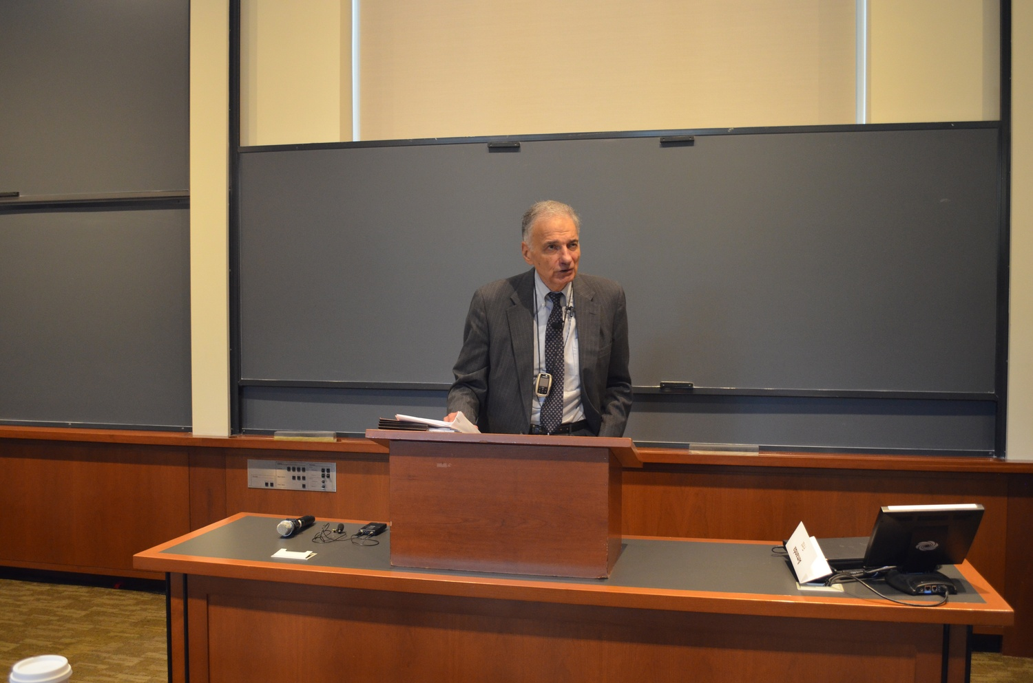 Ralph Nader JD '58 speaks about his experiences at Harvard Law School Thursday Afternoon in Langdell Hall. Nader spoke about among other things, how HLS should change its curriculum to adapt to the changing world.