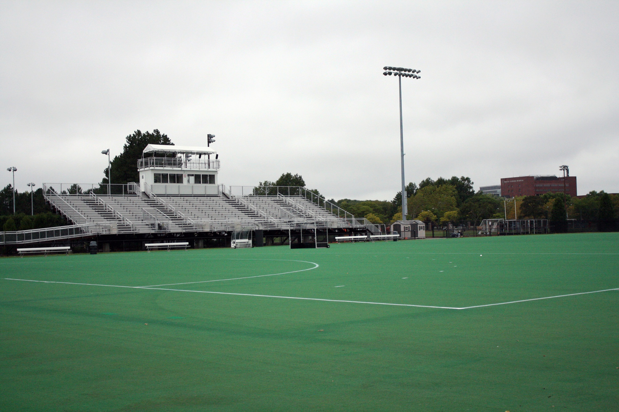 The above Harvard Field Hockey Stadium, built in 2000, had previously been named in honor of a gift by Gerald R. Jordan '61. The field hockey field's namesake transitioned after Soldiers Field, a soccer and lacrosse field, was renamed to Jordan Field.