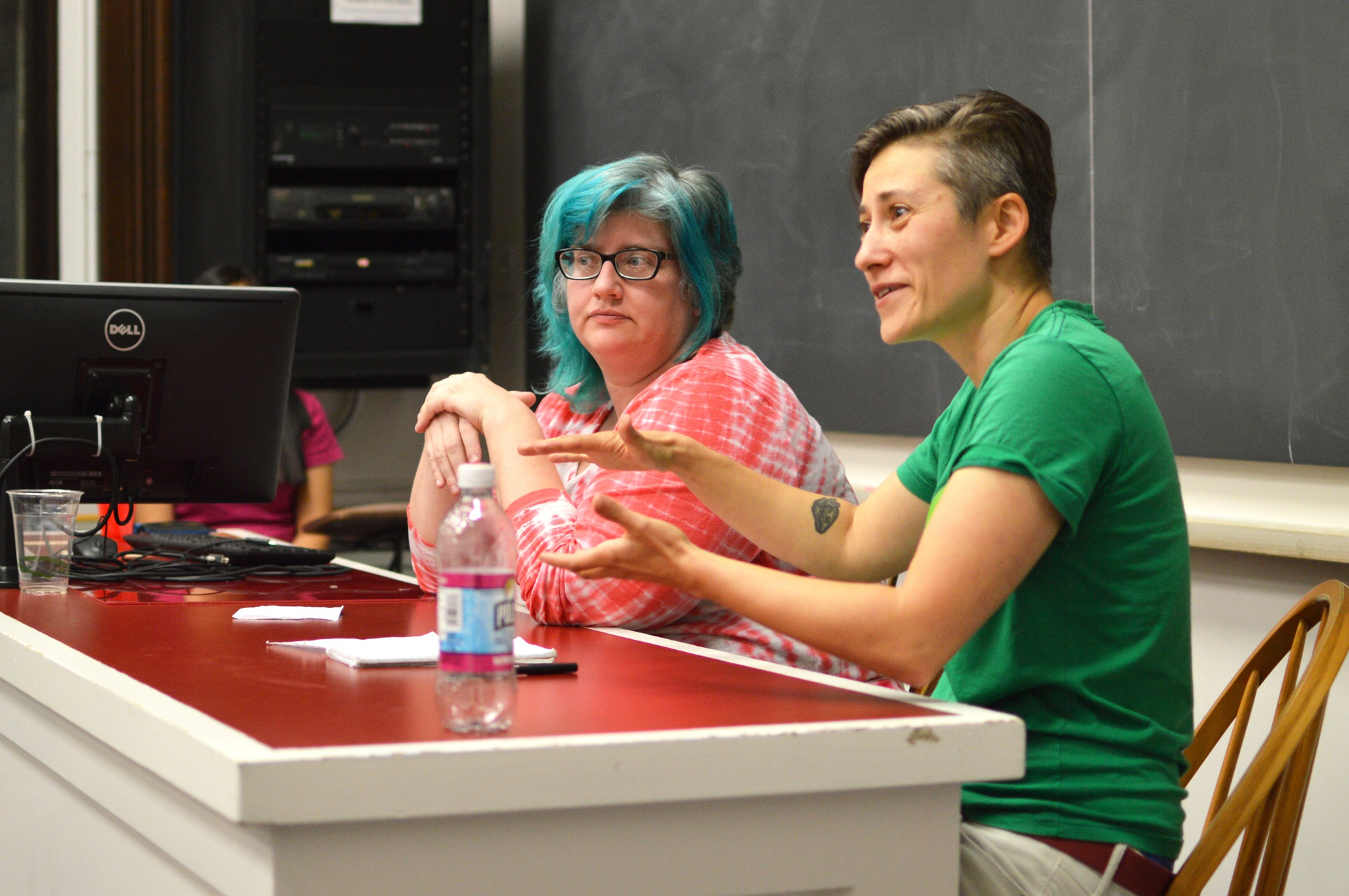 Cathy O'Neil, left, and Moon Duchin '97, right, discuss gender discrimination in academia on Monday  evening. Gender Inclusivity in Mathematics, a new student organization promoting inclusivity for minorities and females, hosted the event.