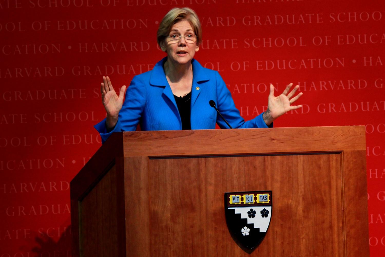 Elizabeth Warren spoke at the Harvard Graduate School of Education last fall.