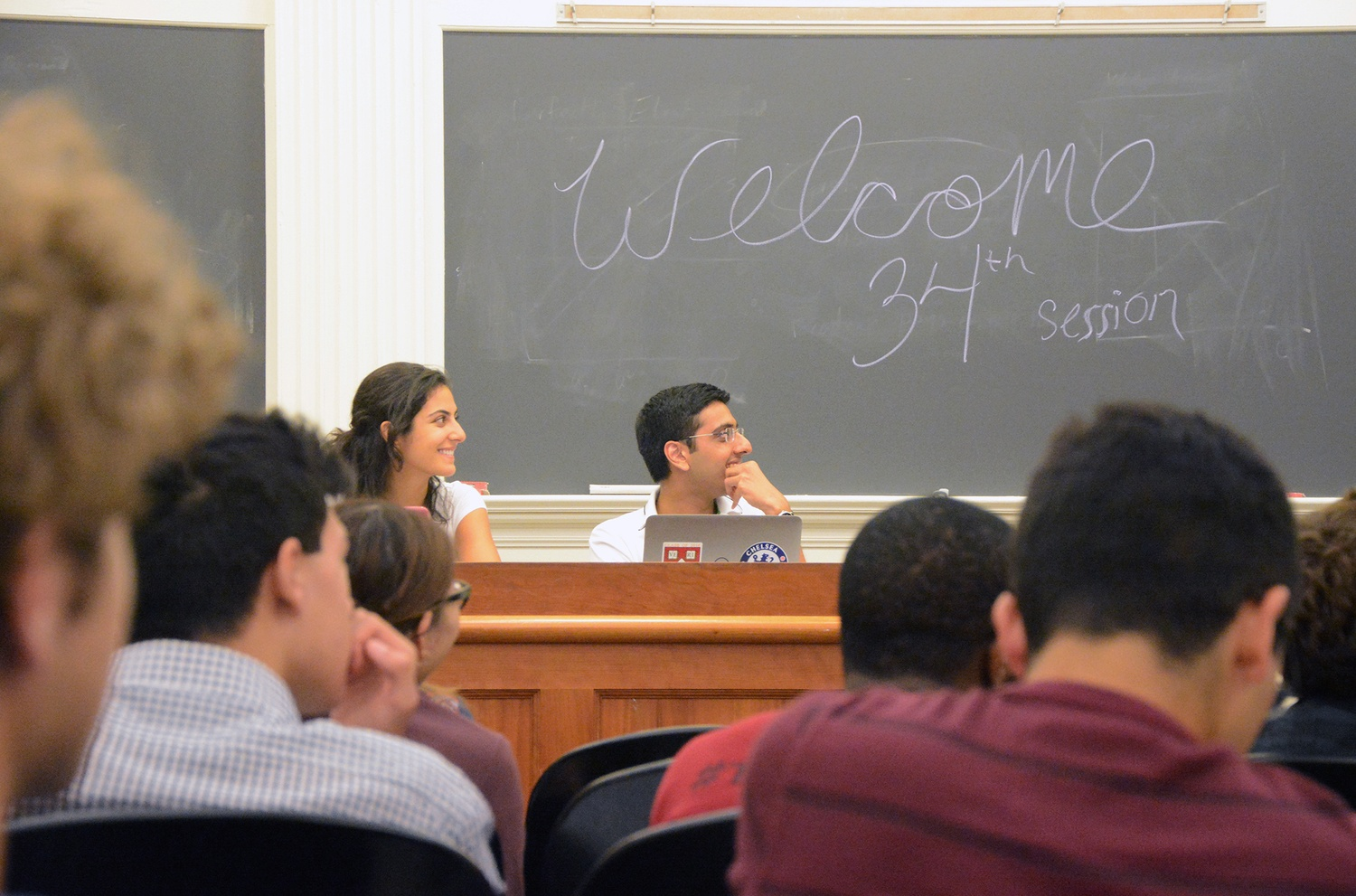 Harvard Undergraduate Council President Ava Nasrollahzadeh '16 and Vice President Dhruv P. Goyal '16 pictured at the inaugural UC meeting in September.