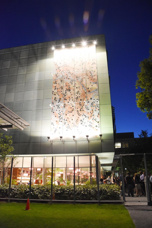 The new wing of the Isabella Stewart Gardner Museum illuminated at night during Third Thursdays: Roxbury & Jazz.
