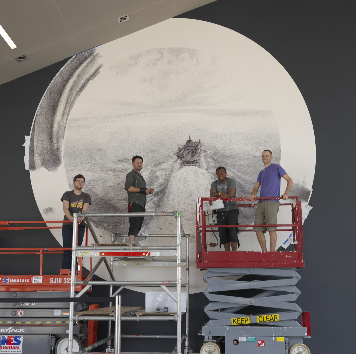 """Artist Ethan Murrow and his crew as they prepare """"Seastead"""" for the Institute of Contemporary Art."""