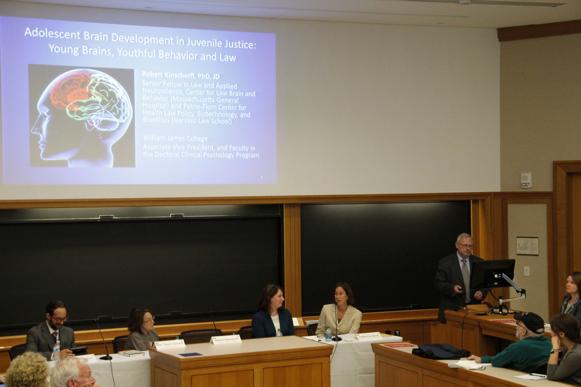 I. Glenn Cohen, law professor, moderates a panel discussing our growing knowledge of the adolescent brain and its role in juvenile court trials, citing the Tsarnaev case in particular.
