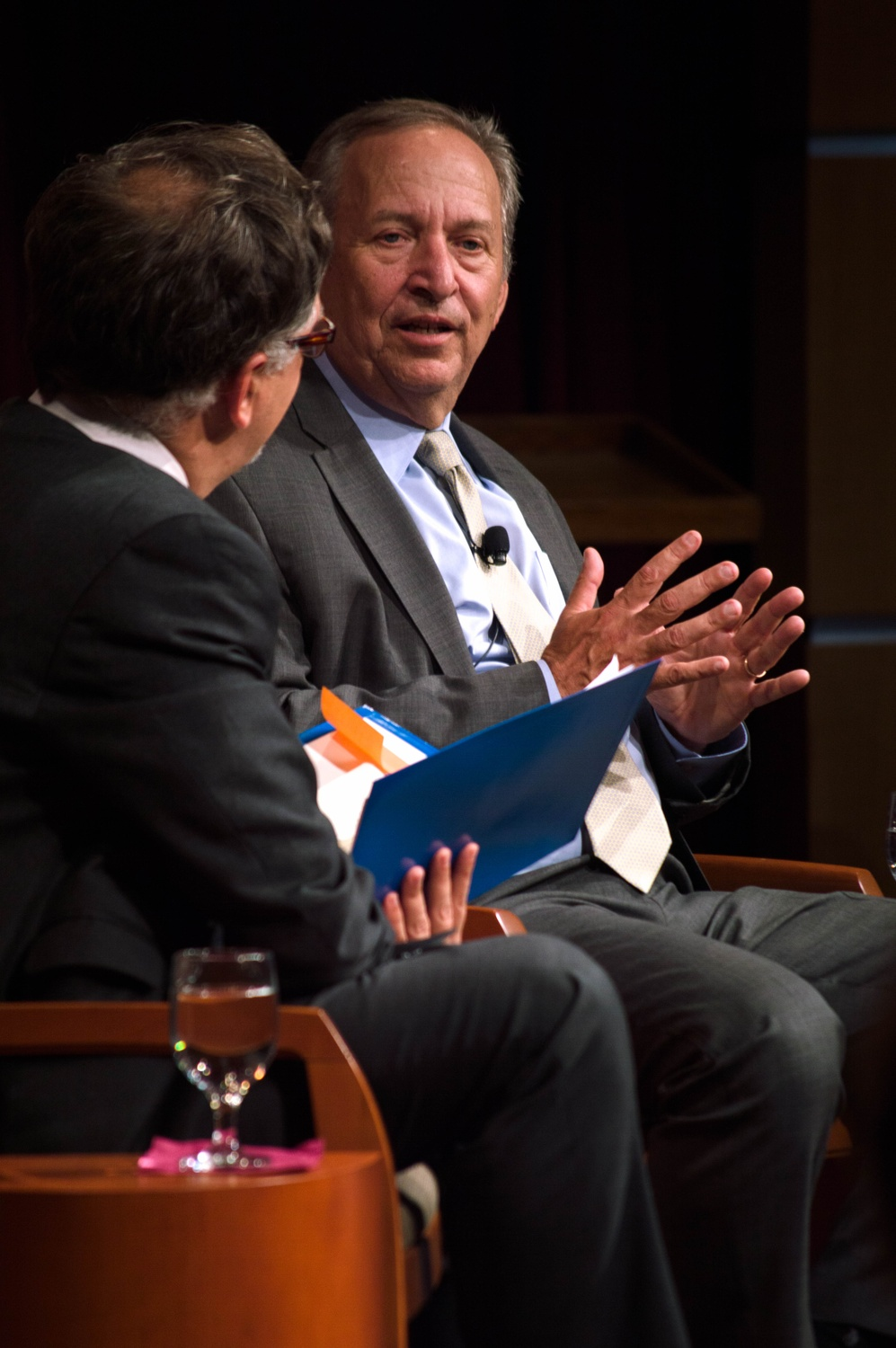 At a Thursday evening forum discussion, former University President Larry Summers shares with Financial Times columnist John Authers his thoughts about inclusivity in modern economic growth.