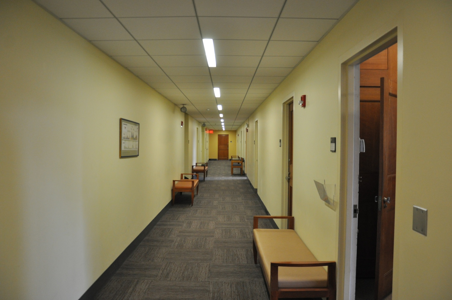 A hallway in the Littauer Center, home to the Harvard's Economics Department.