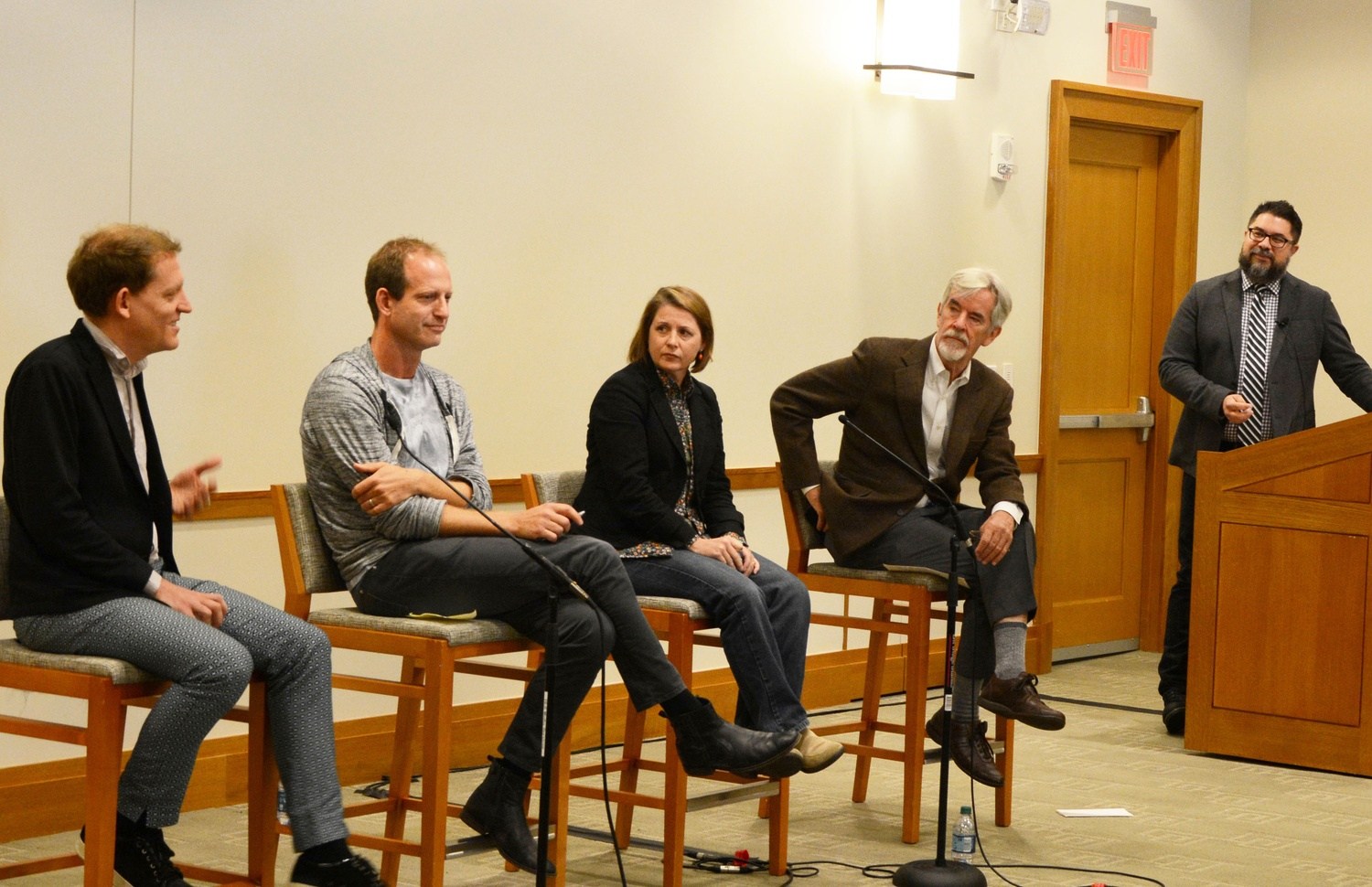 From left to right: Benjamen Walker of Radiotopia's podcast Theory of Everything, Jake Shapiro and Kerri Hoffman of Public Radio Exchange, and Chris Lydon of Radio Open Source speak on the future of podcasts. The panel at the Law School on Tuesday was moderated by Berkman Center for Internet and Society's Faculty Co-Director Christopher T. Bavitz.