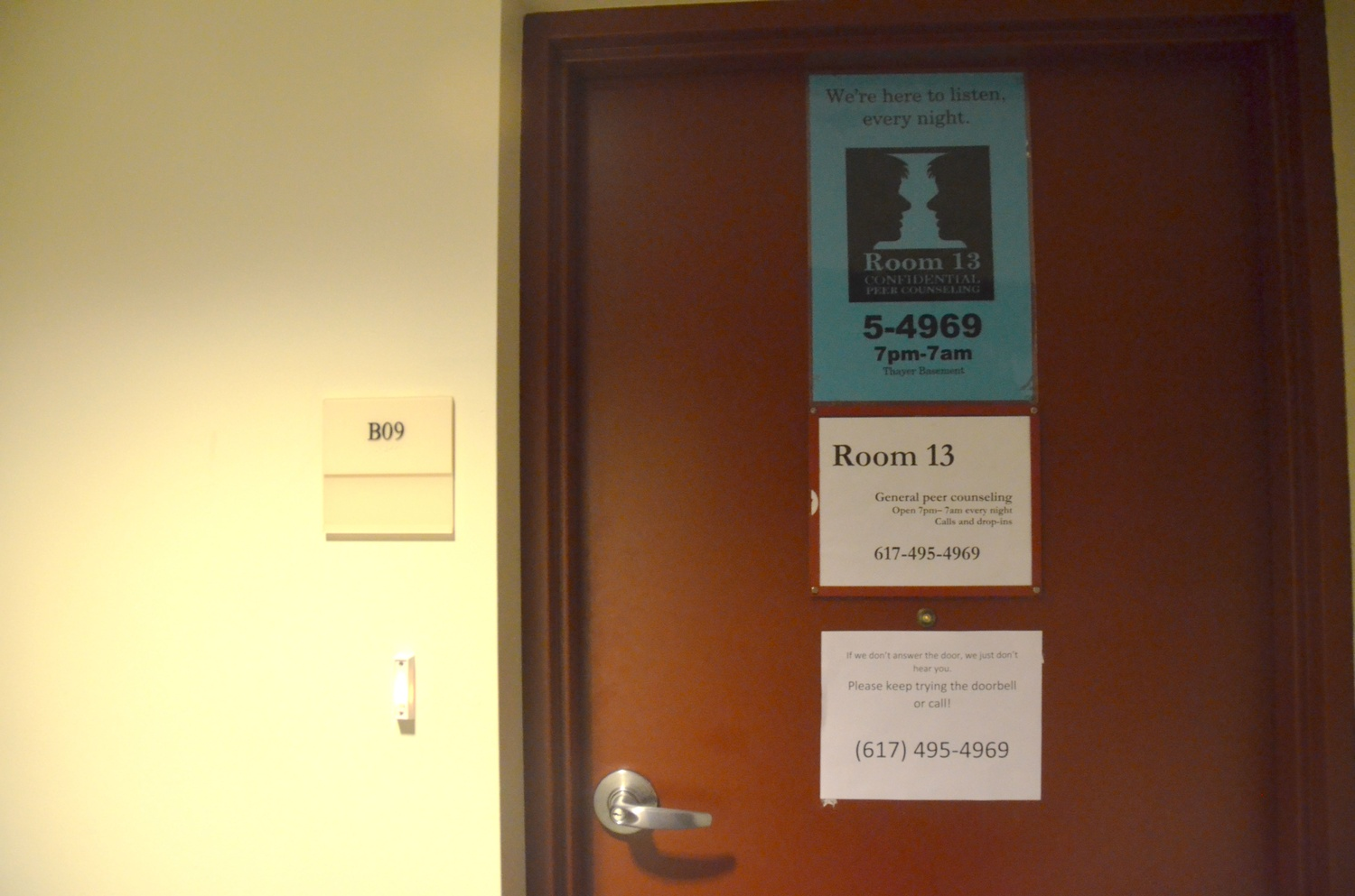 "A sign on Room 13's door reads, ""We're here to listen, every night."" Room 13, a peer-counseling group, is open from 7 p.m. to 7 a.m. every night of the week."
