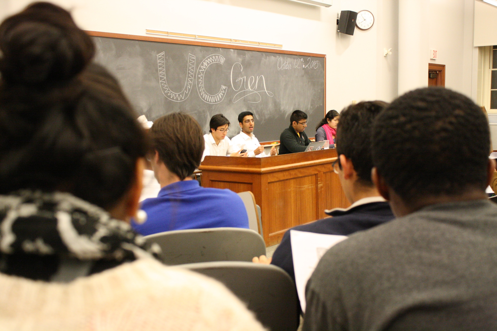 The Undergraduate Council gathers for its general meeting in Harvard Hall on Monday evening.