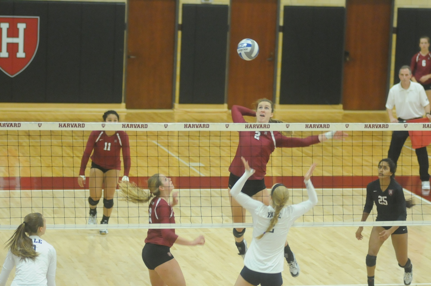 Senior Caroline Holte recorded seven kills in the Harvard women's volleyball team's three-set win over Yale.