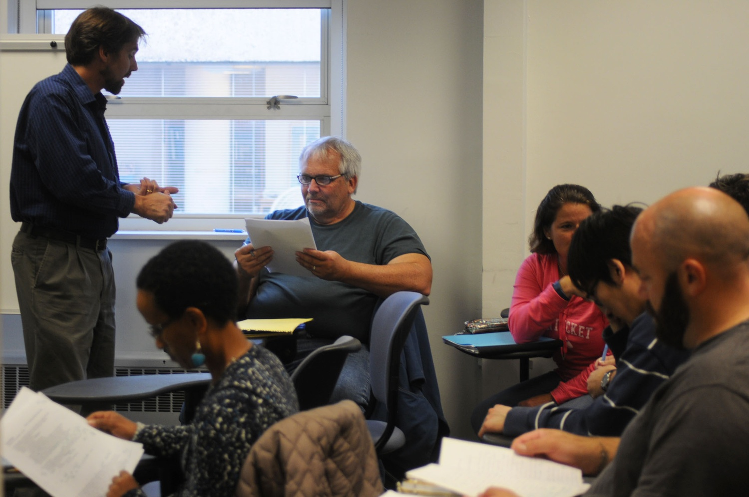 "Professor Andrew Engelward teaches his class, Math E-300 ""Math for Teaching Arithmetic,"" to Extension School students."