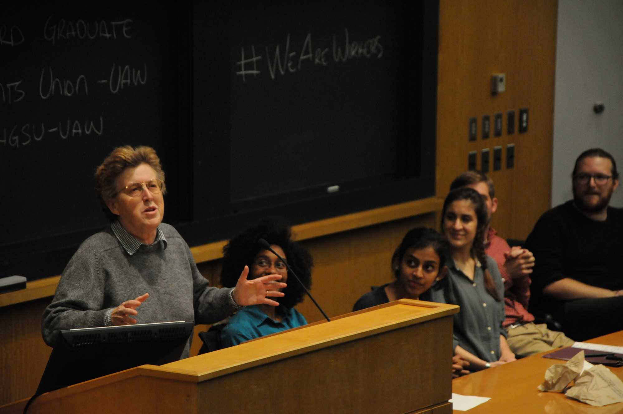 Dr. Elaine Bernard, executive director of the Labor and Worklife Program at Harvard Law School, argues for unionization.  The Graduate Student Union hosted Harvard and community speakers as part of the We Are Workers: National Graduate Worker Day of Action.