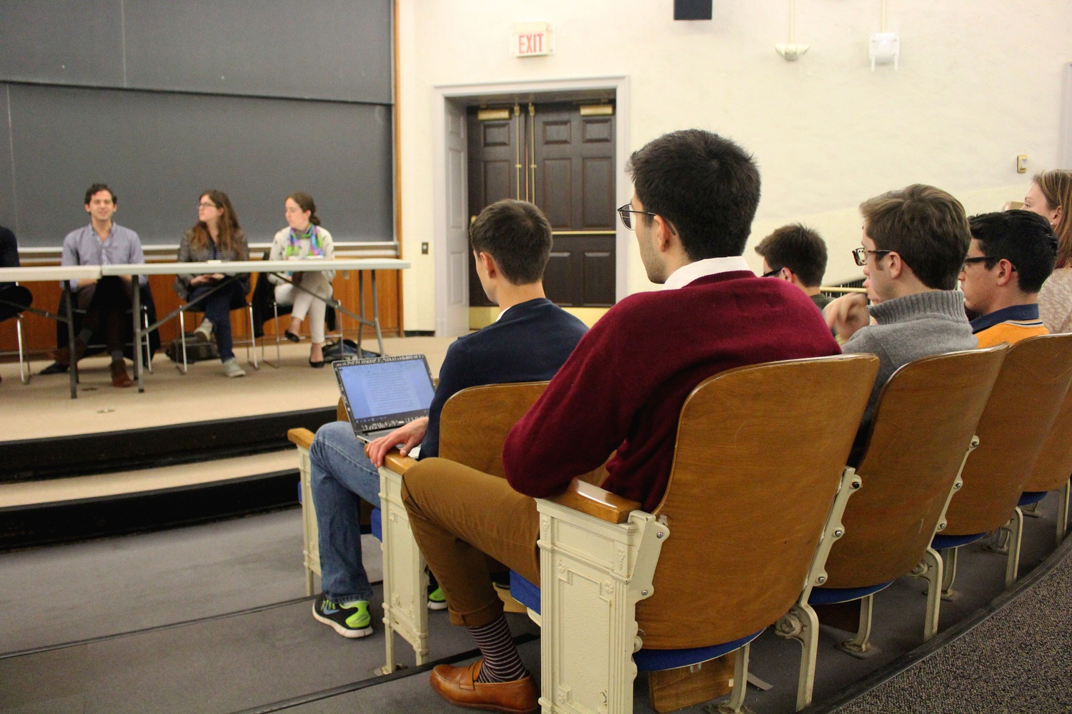 Students attend a five-member panel of teachers and students on Thursday night aimed towards those considering a concentration in the humanities. Panel members offered insight into the decision-making process and why a concentration in the humanities can be a strong option.
