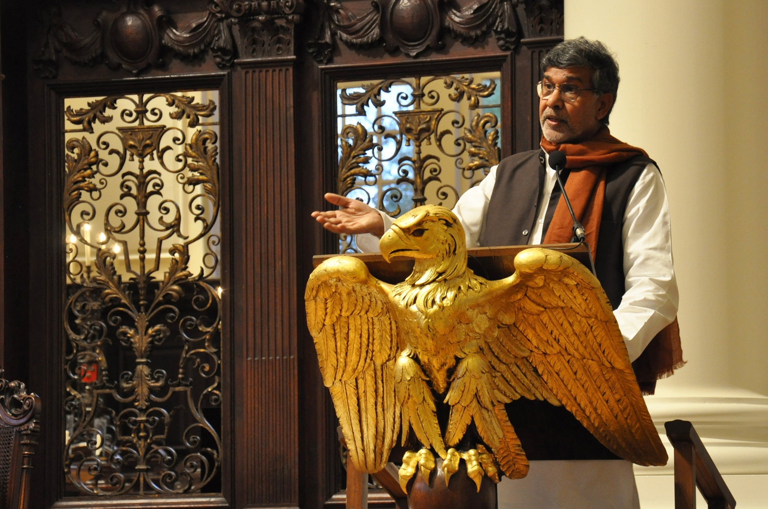 Kailash Satyarthi addresses a crowd in Memorial Church after accepting the 2015 Humanitarian of the Year Award. The Harvard Foundation presented Satyarthi, a 2014 Nobel Peace Prize Laureate, with the award on Friday to honor him for his dedication to protecting children's rights.