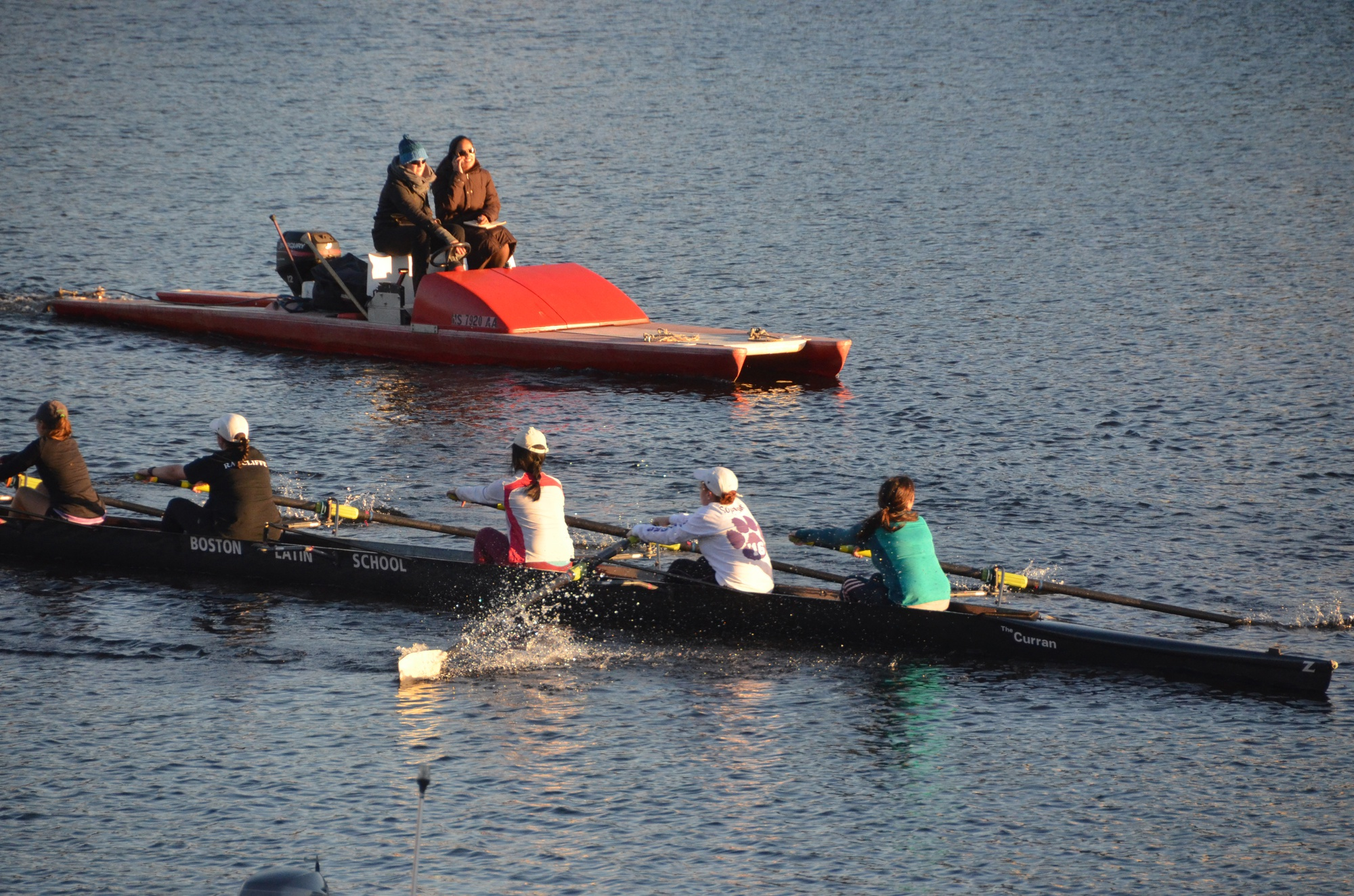 Students from Boston Latin School row on the Charles River on Monday afternoon.